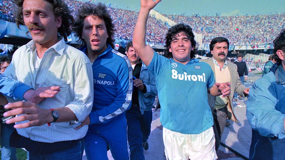 Maradona during his days playing for Napoli