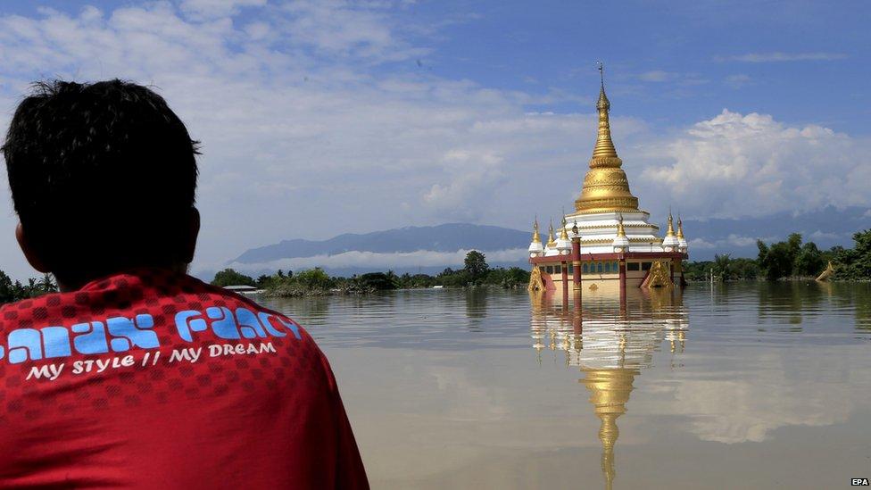 Flooded monastery in Kale, Sagaing, Myanmar (3 Aug 2015)