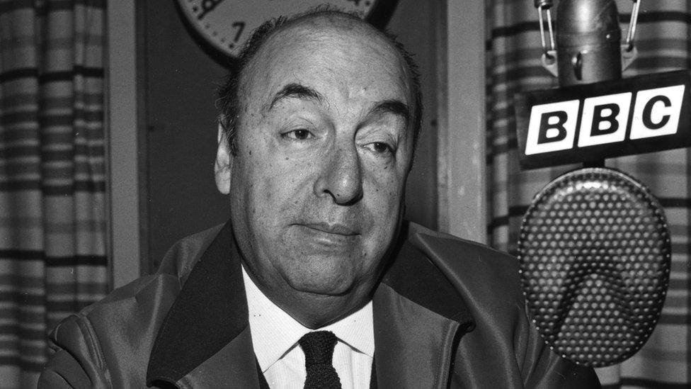 Chilean poet Pablo Neruda at the BBC Latin American Service in 1965