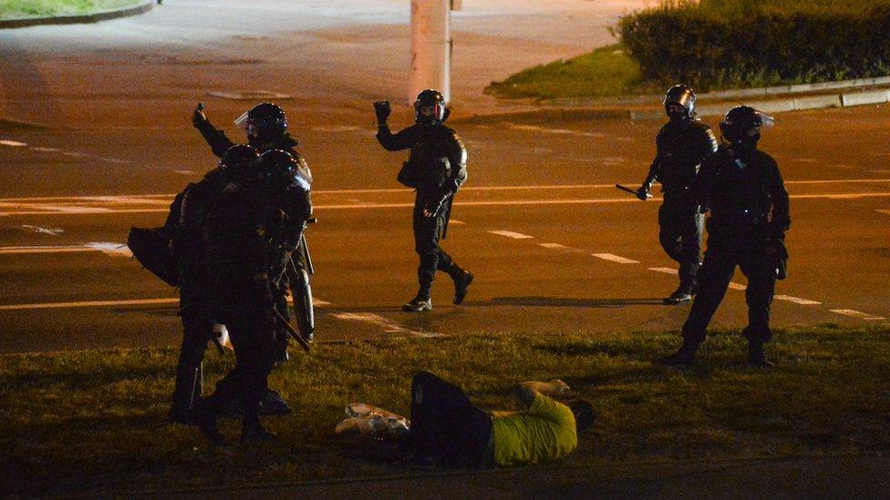 policija na ulicama minska