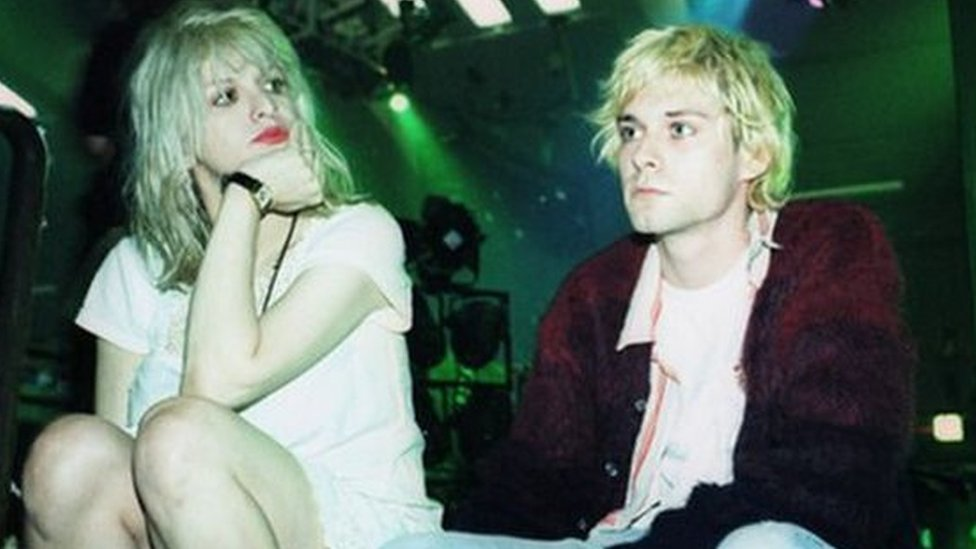 Courtney Love and Kurt Cobain in Belfast, June 1992