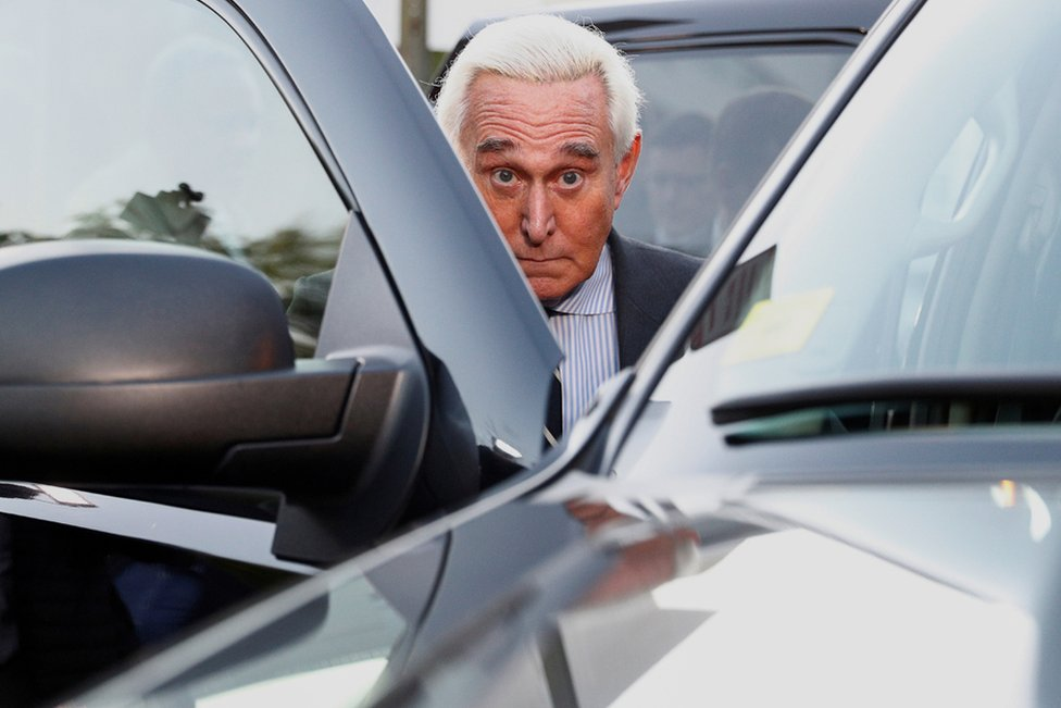 Former Trump campaign adviser Stone departs in his car following his criminal trial at U.S. District Court in Washington