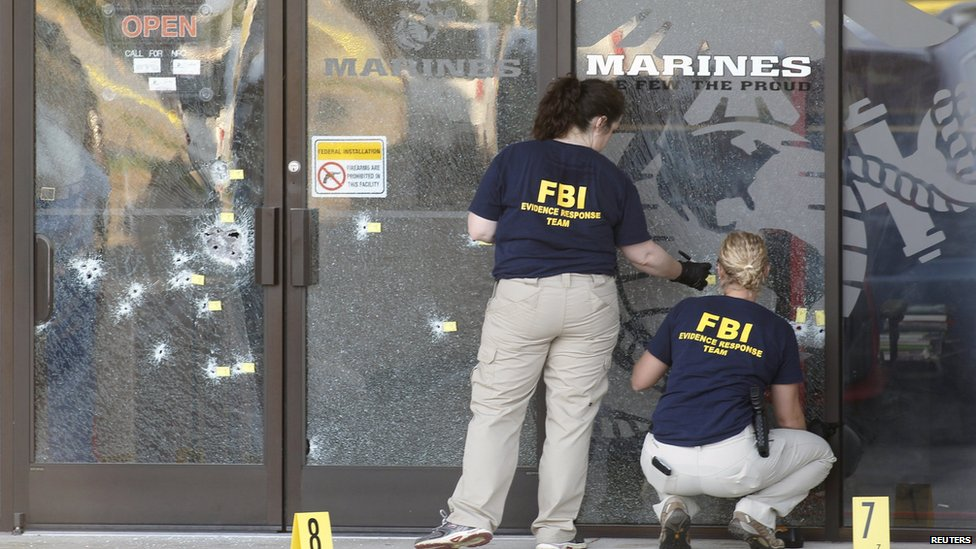 Scene of shooting at military recruiting centre in Chattanooga, Tennessee, on 16 July 2015