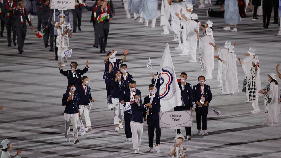 The Tokyo 2020 Olympics Opening Ceremony - Olympic Stadium, Tokyo, Japan - July 23, 2021. Flagbearer Lu Yen-hsun of Chinese Taipei lead their contingent in the athletes parade during the opening ceremony