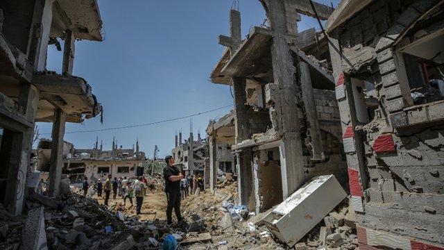 Casas destruidas en la Franja de Gaza