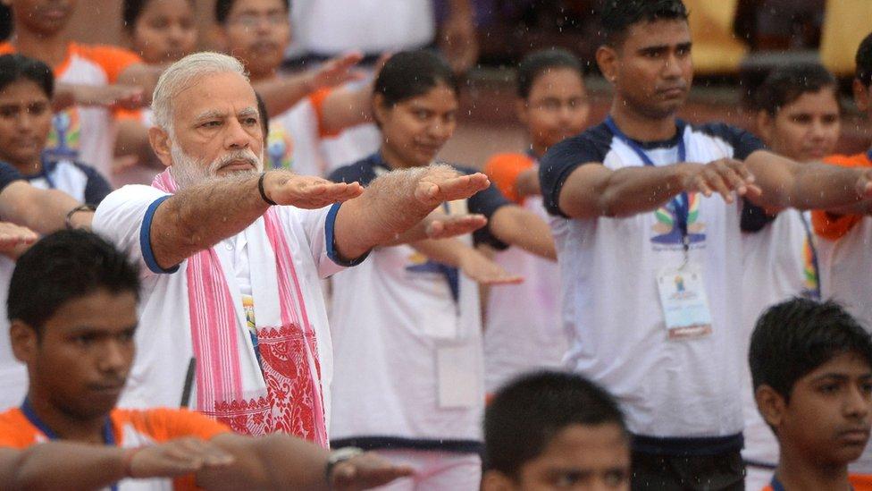 Narendra Modi doing yoga