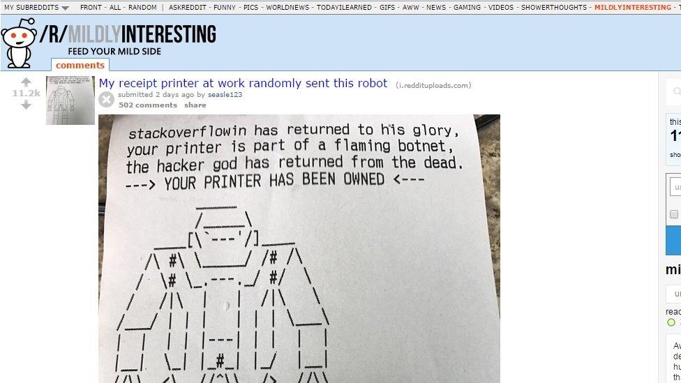 Hijacked printer message