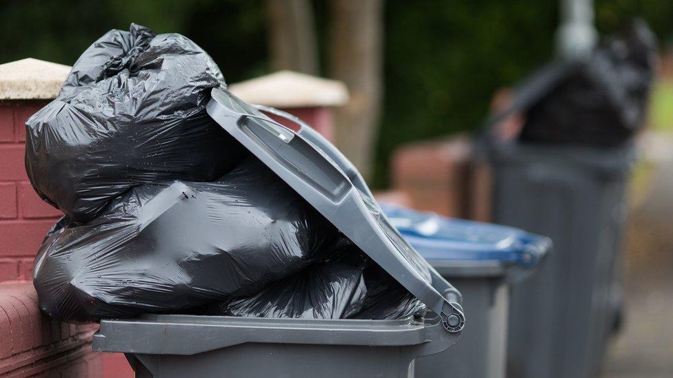 Rubbish bags in bin