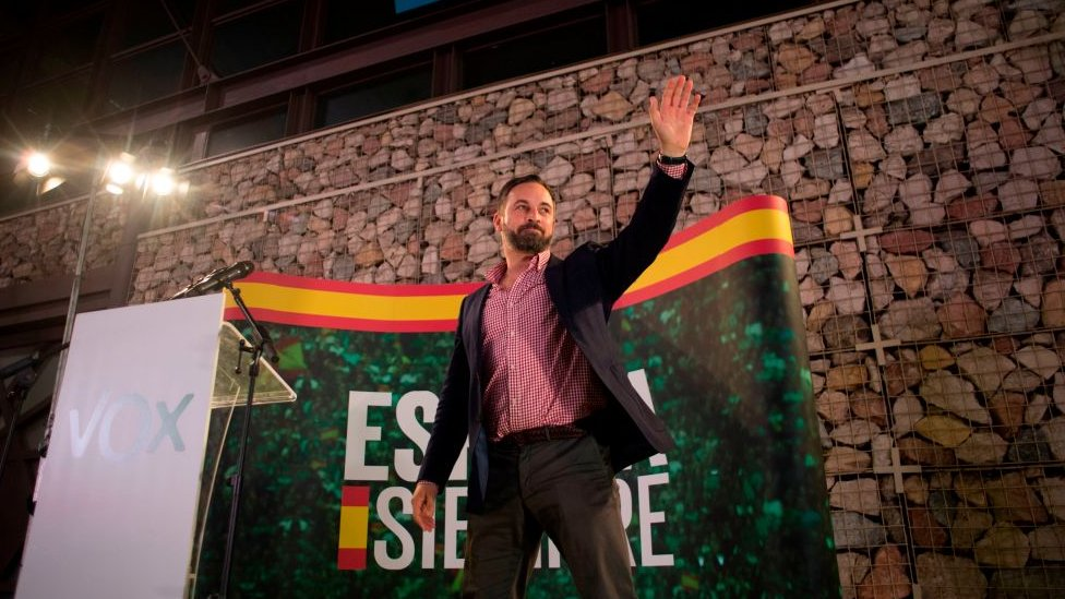 Santiago Abascal durante un mitin de VOX.