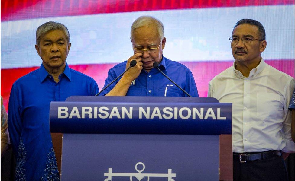 5月10日,即將離職的馬來西亞前總理納吉布發表演講。