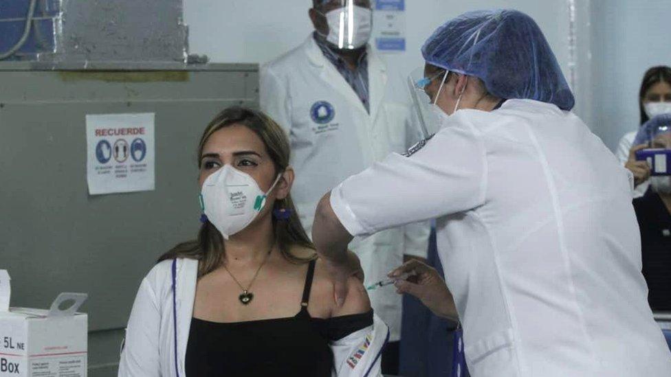 Glendy Rivero, the first doctor to receive the Russian Sputnik V vaccine, at the Victorino Santaella hospital, in Los Teques, Miranda state, Venezuela, 18 February 2021