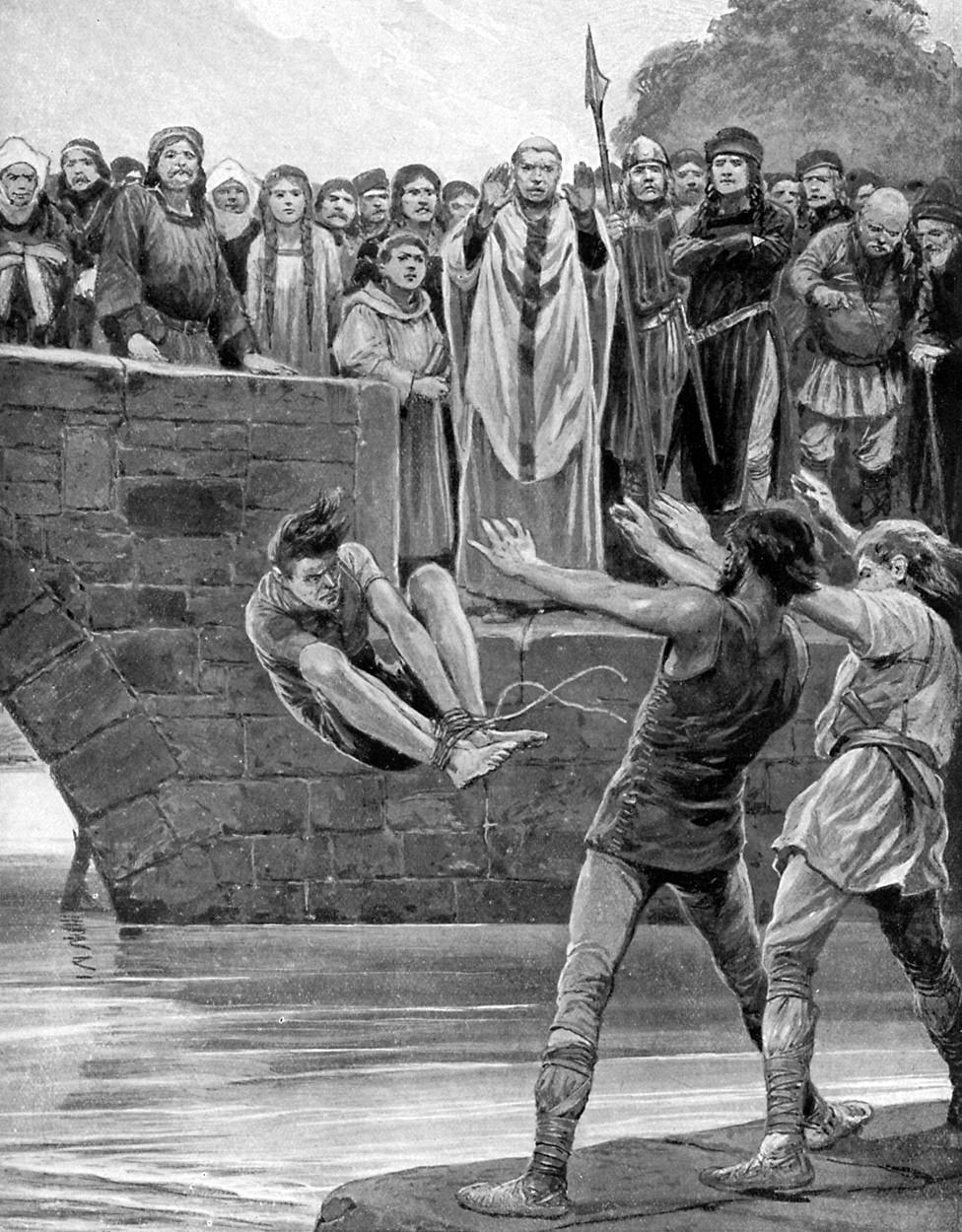 Print of men throwing bound man into river
