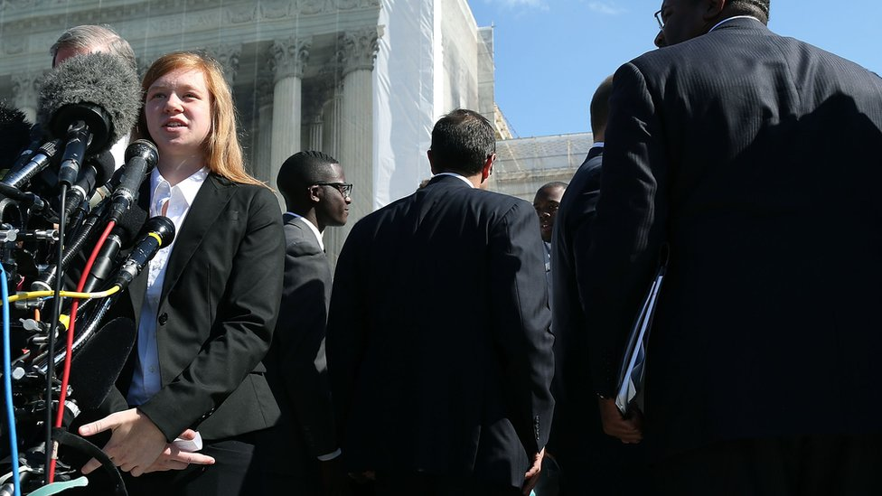 Abigail Fisher, pictured, argued that she was rejected by the University of Texas based on her white race