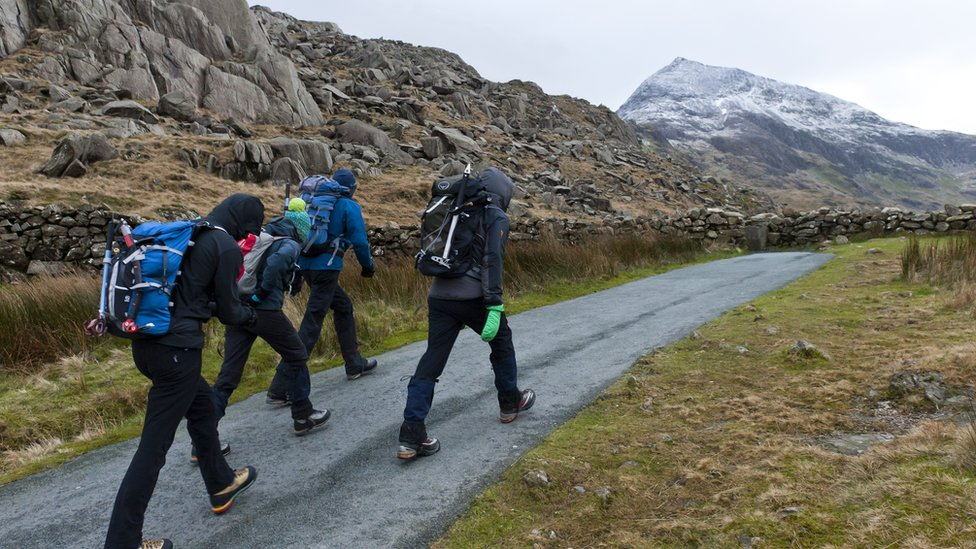 Climbers approaching Snowdon