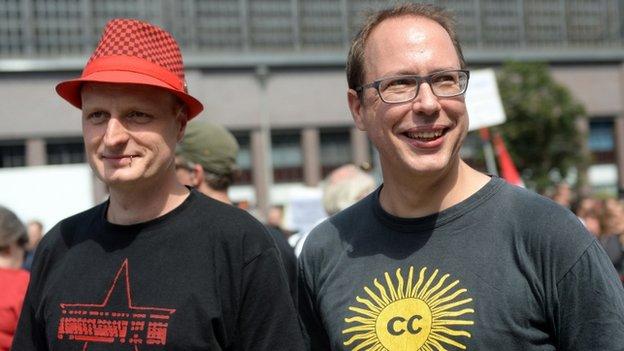 "Founder of German news blog Netzpolitik org (Net politics), Markus Beckedahl (R), and one of the blog""s authors, Andre Meister"