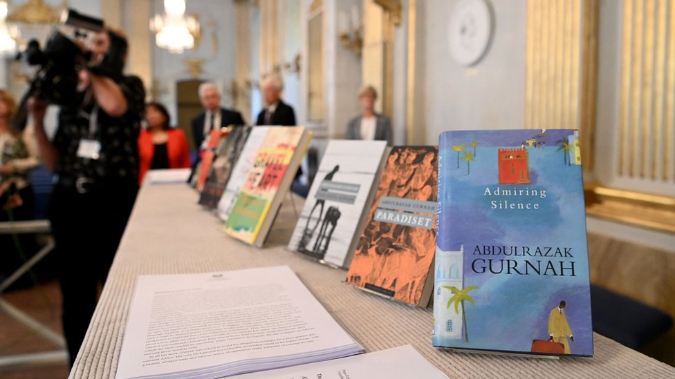 Books written by Gurnah on display