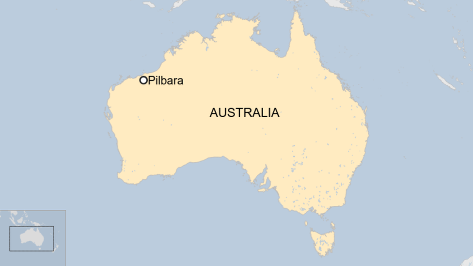 A map showing the location of Pilbara in Western Australia, on the country's north-west coast