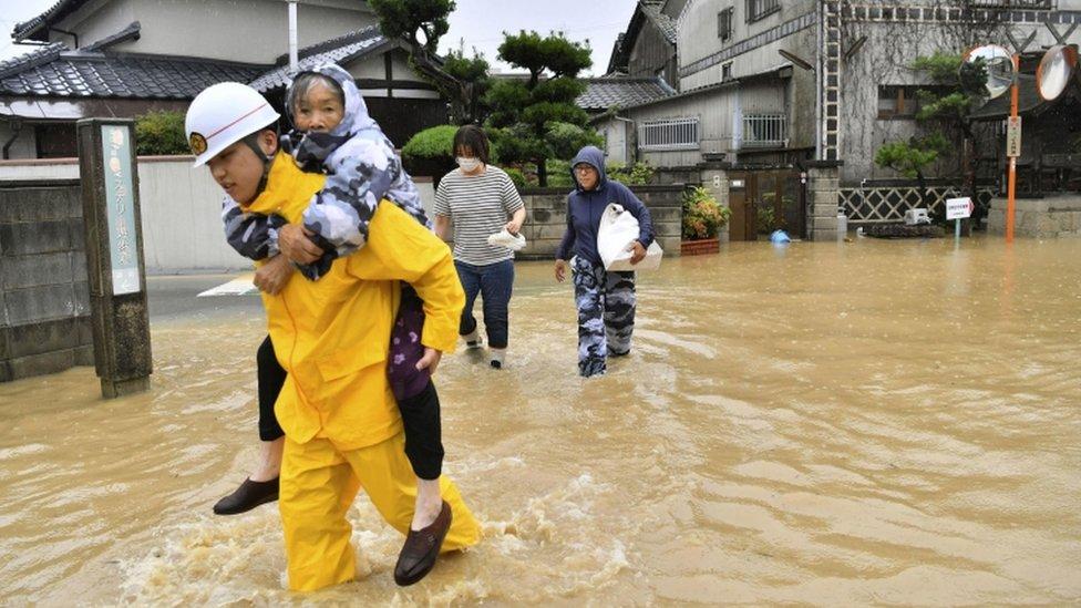 Residents are evacuated after floods in Kurashiki, Okayama prefecture, Japan