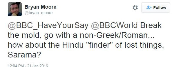 """Break the mould.......how about the Hindu """"finder"""" of lost things, Samara"""