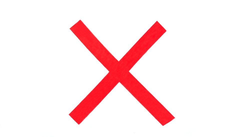Señal con una x