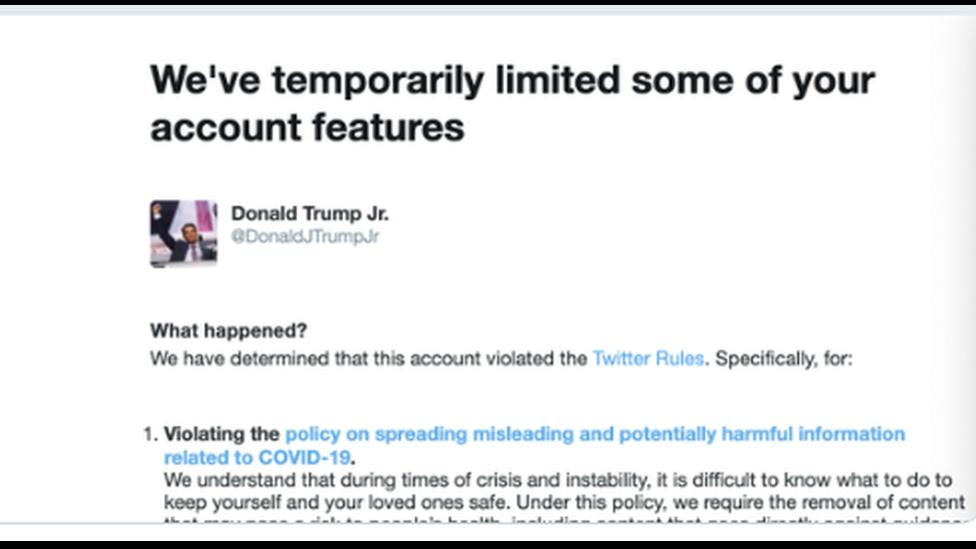 Captura de pantalla del mensaje de Donald Trump Jr desde Twitter