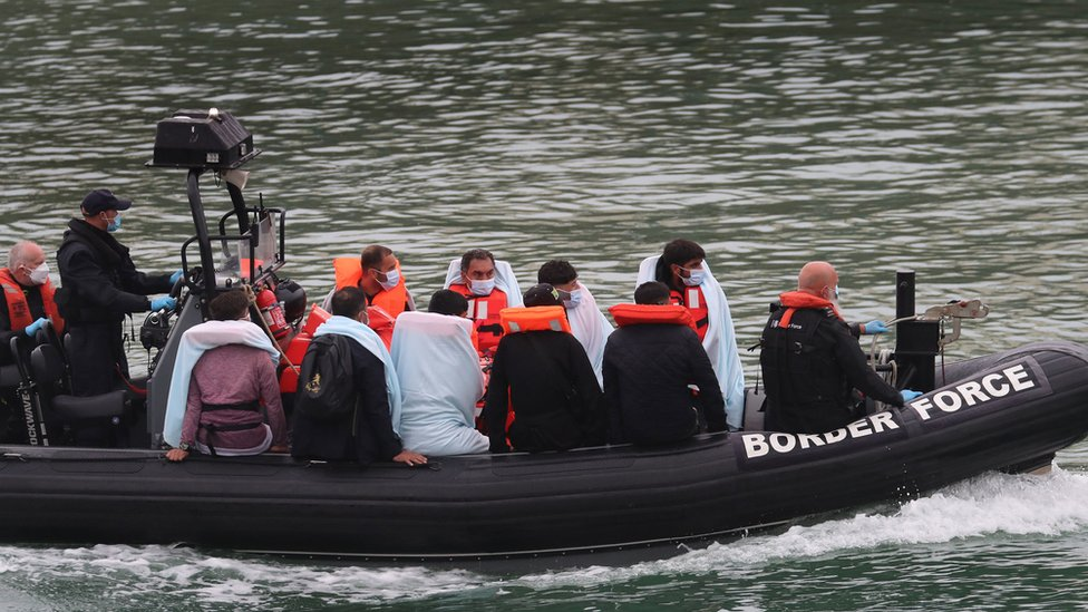 A group of people thought to be migrants onboard a Border Force vessel on Sunday