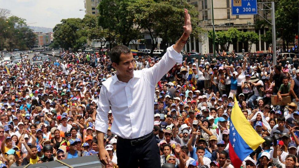 Guaidó en una manifestación el 1 de mayo.