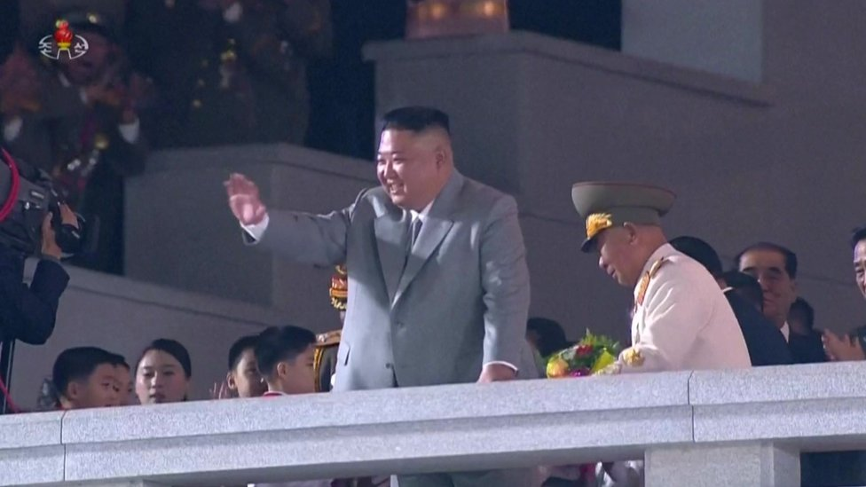 Kim Jong-un pictured at the parade