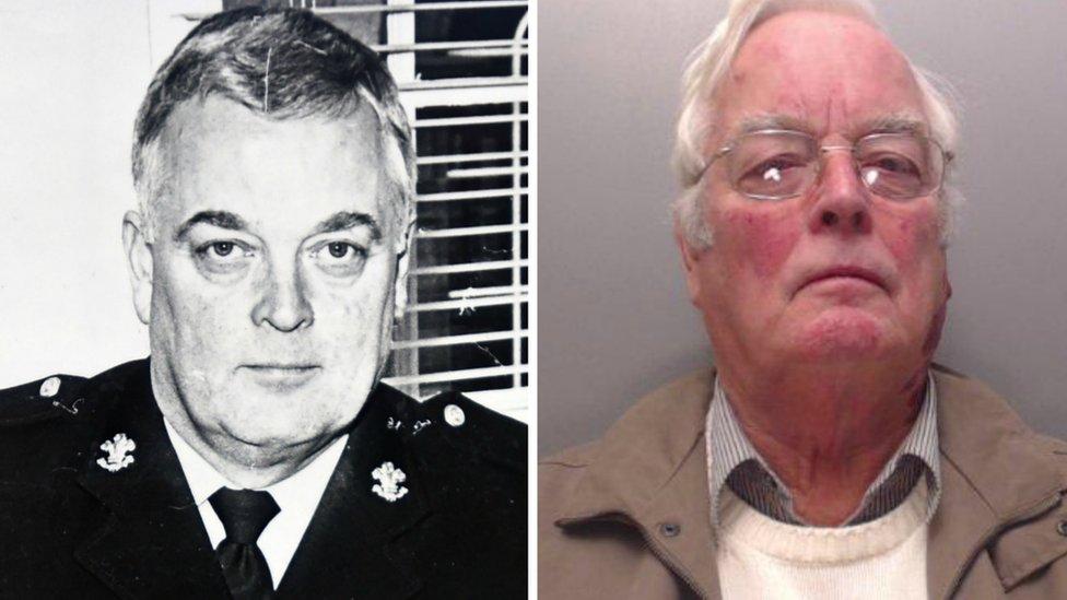 Gordon Anglesea in uniform and his police custody shot