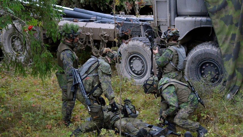 Tropas finlandesas, junto con otras tropas occidentales, formaron parte de un ejercicio militar en Suecia en 2017.
