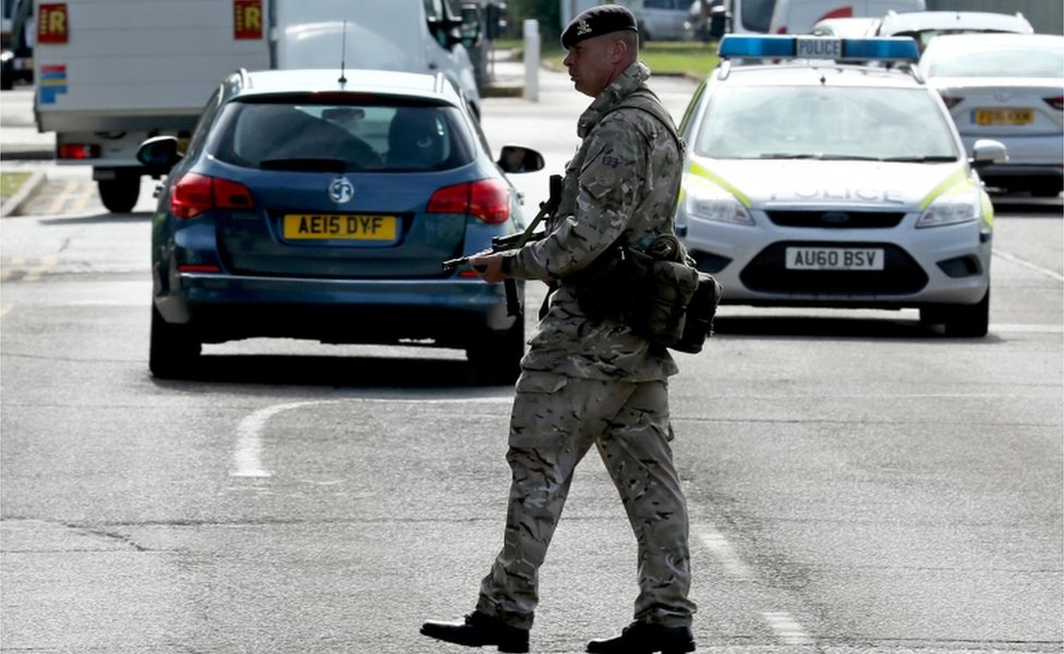 Soldier on patrol at RAF Marham