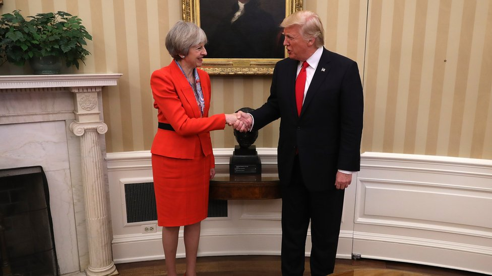 Theresa May meets with Donald Trump at the Whitehouse