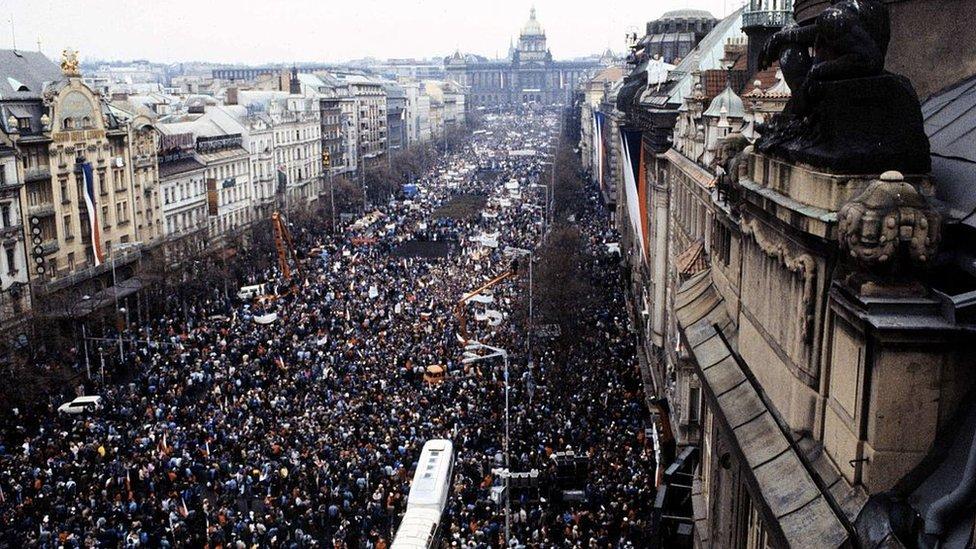 Manifestación en Checoslovaquia en 1989.