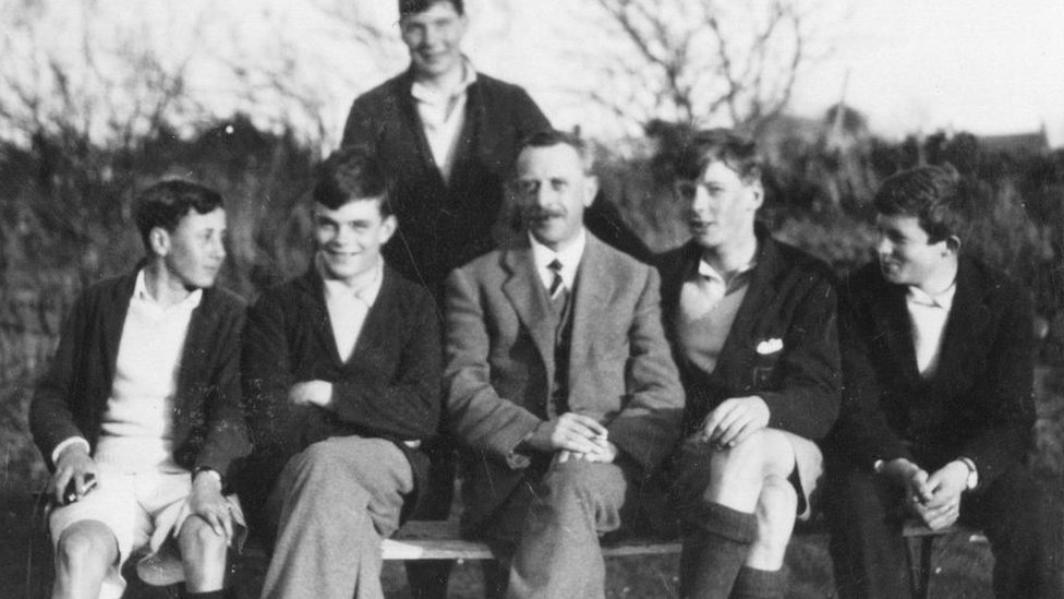 Alan Turing (second from left) in Rock, Cornwall, in 1930 with fellow Sherborne School pupils