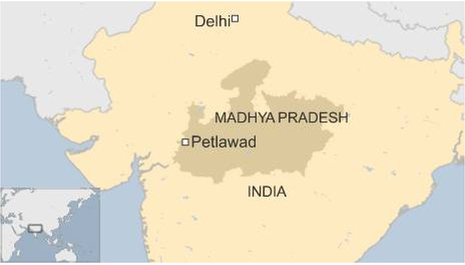 Map of India showing Madhya Pradesh and Petlawad