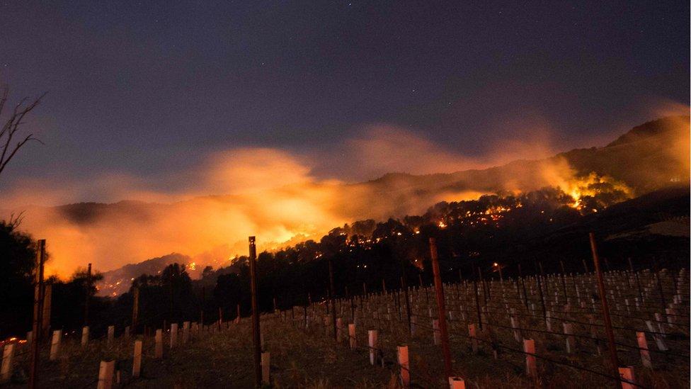 Fire burns along Napa valley hillsides