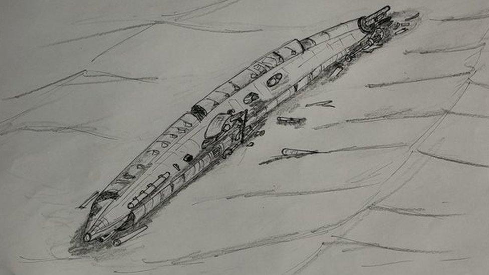 Sketch of German submarine