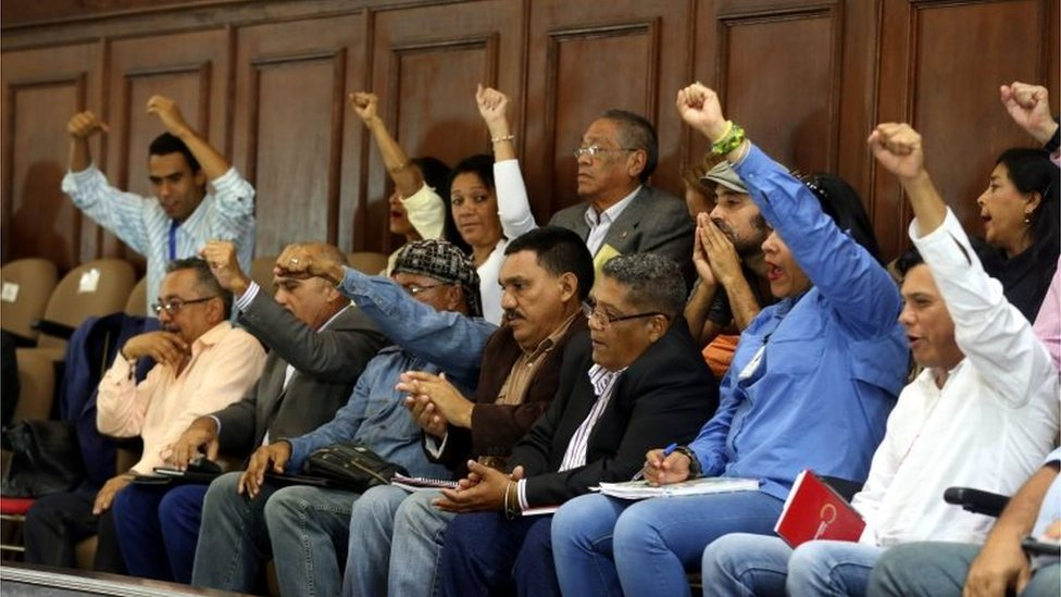 A handout photo made available by Agencia Venezolana de Noticias (AVN) shows a session of the National Constituent Assembly in Caracas, Venezuela, 29 August 2017.