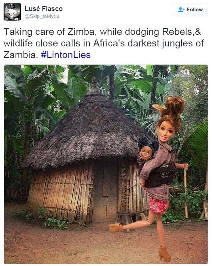 Tweet showing Barbie aid worker