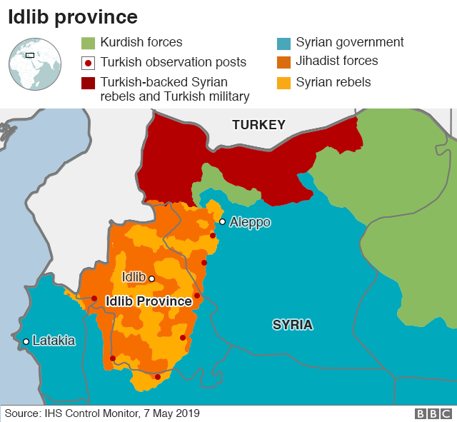Map showing control of Idlib province, Syria (7 May 2019)