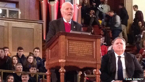 Tony Benn giving a speech to 2,000 sixth formers at a UK conference a few months ago