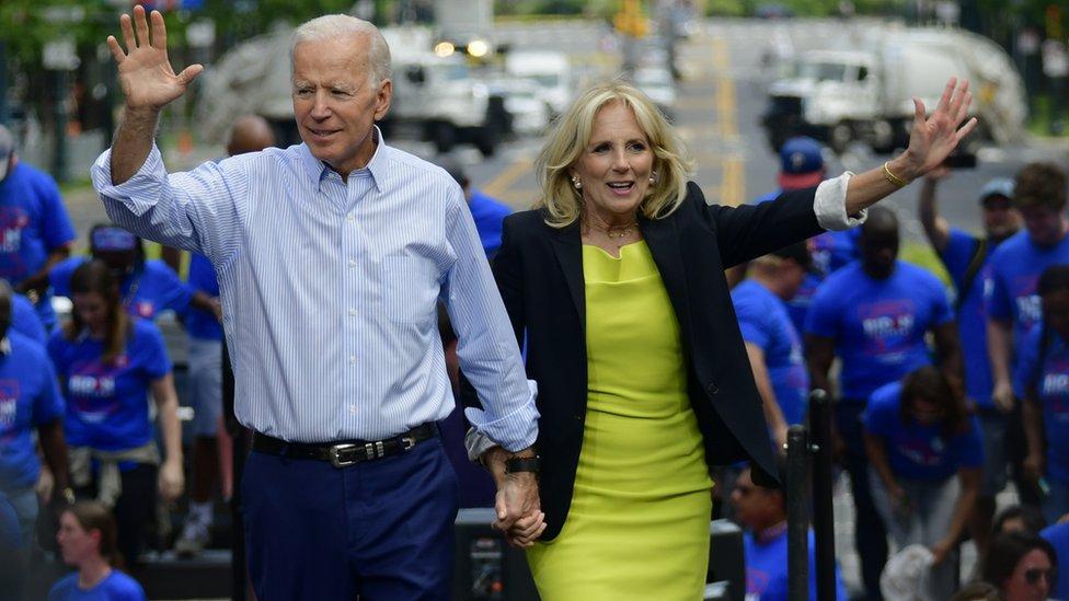 Joe Biden at a campaign rally with his wife Jill Biden