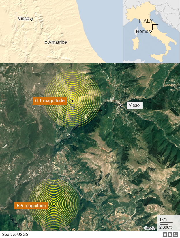 Map and satellite image showing Visso and the epicentres of the two earthquakes