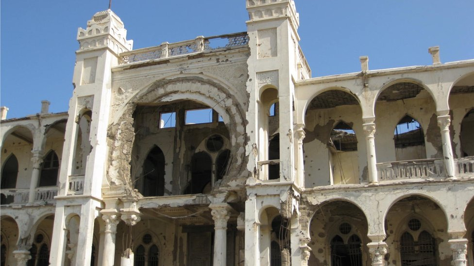 Building in port city of Massawa showing signs of independence war damage