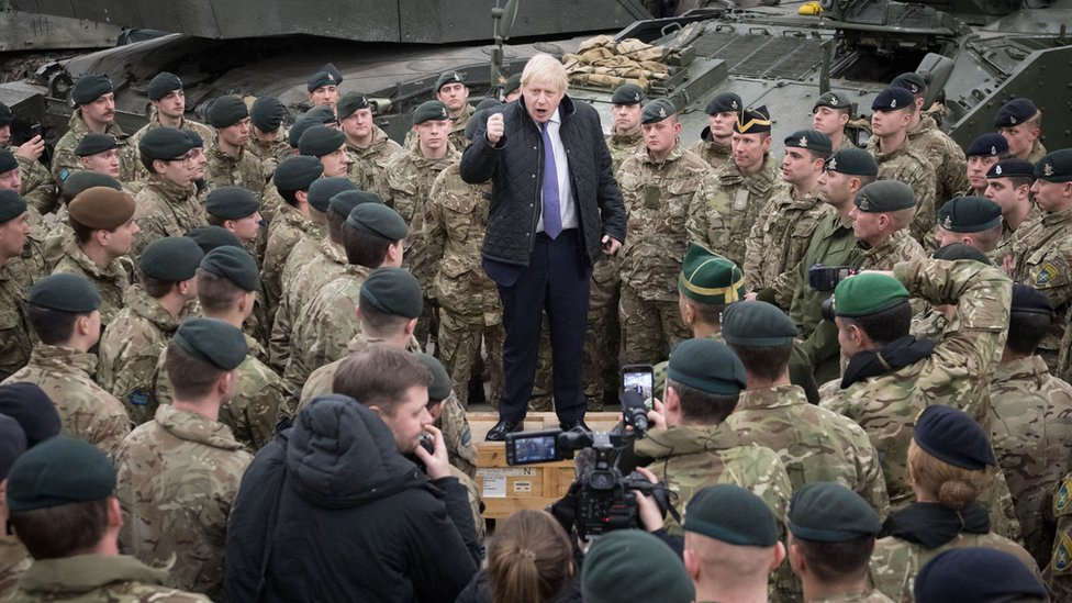 Prime Minister Boris Johnson speaks to British troops stationed in Estonia during a one-day visit to the Baltic country.