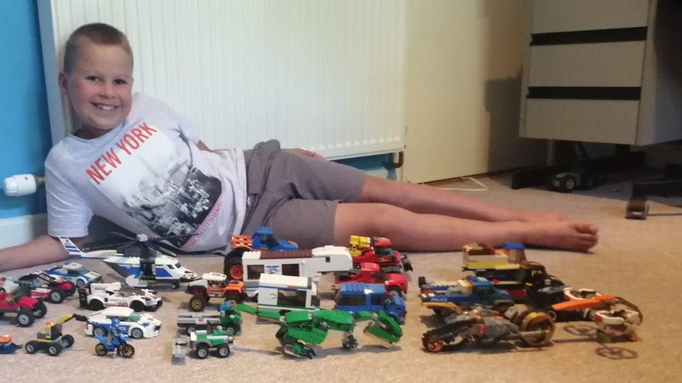 Buddy Abbot with his Lego creations