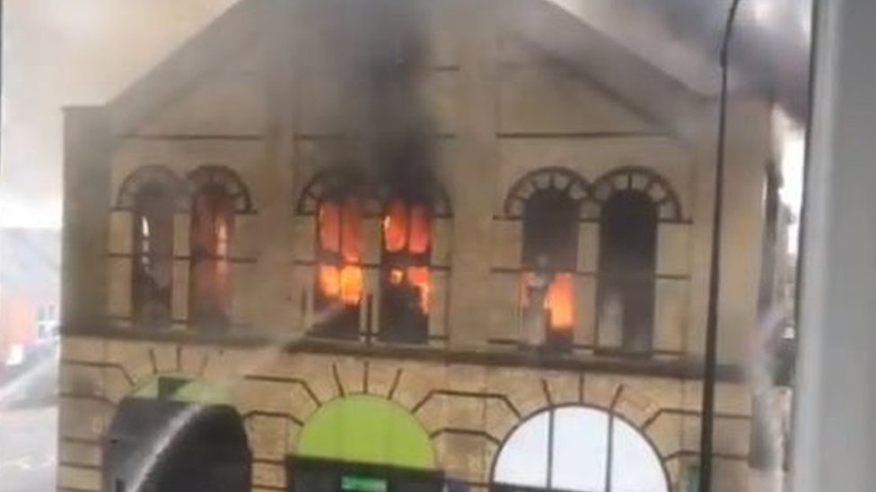 Fire rips through Northampton town centre shop