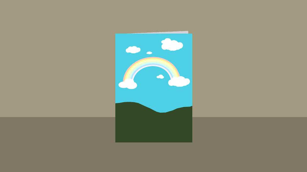 Ilustração de papel com arco íris desenhado