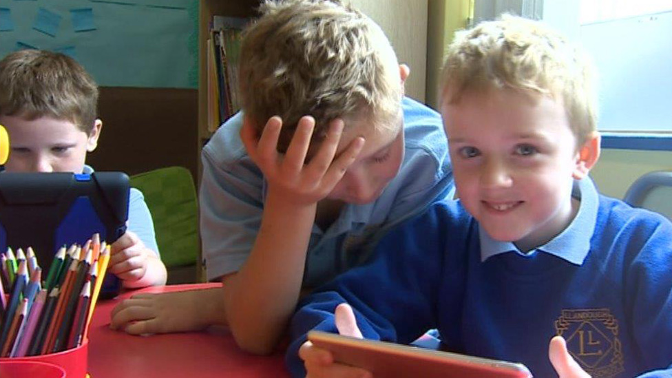Pupils at Llandough Primary School