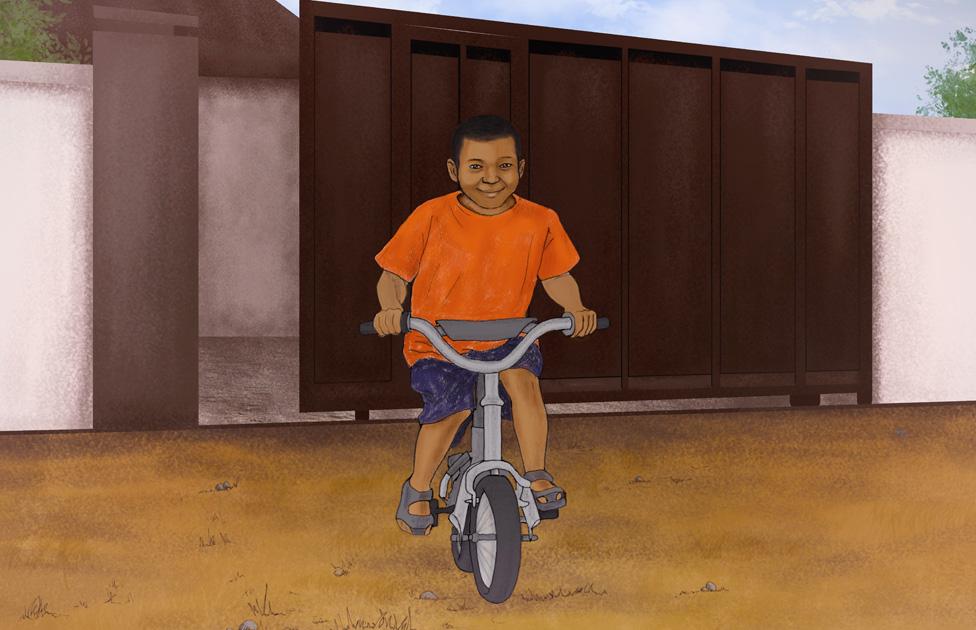 رسم لصموئيل عبد الرحيم وهو يلعب خارج منزل اسرته على دراجته
